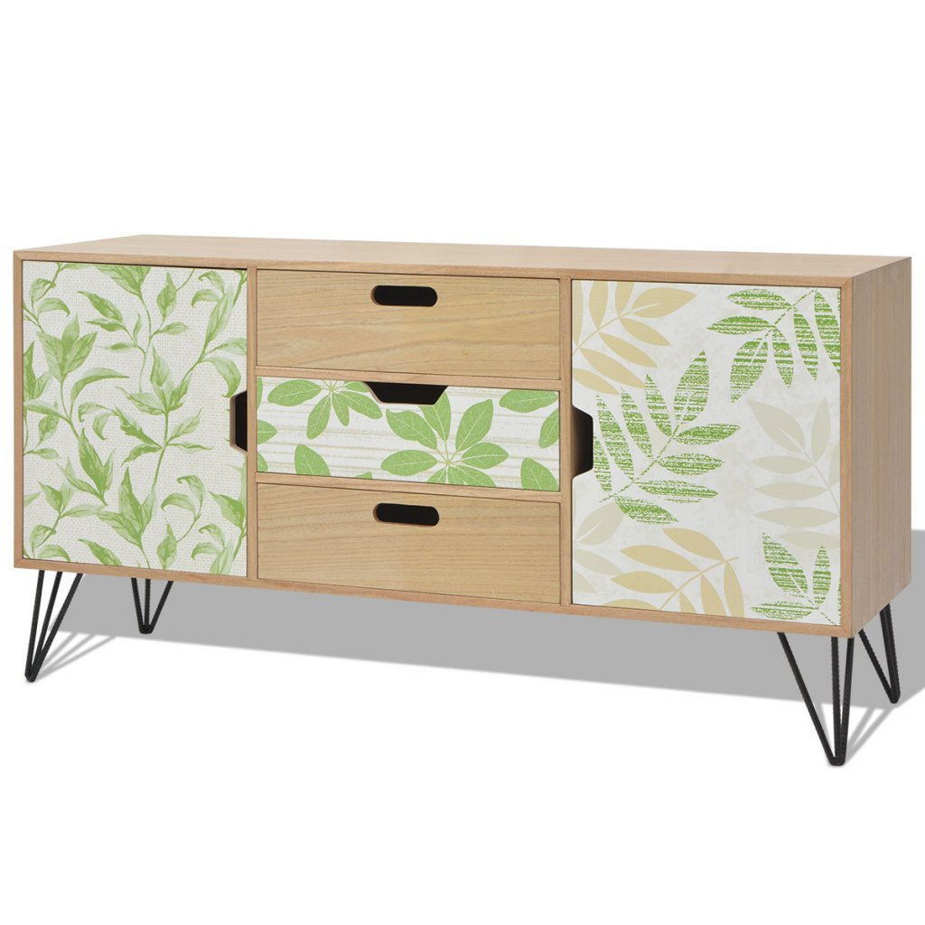 Festnight Wooden Sideboard 2 Doors 3 Drawers 2 Storage Compartments Living Room Bedroom 110 x 35 x 57 cm Brown/Grey