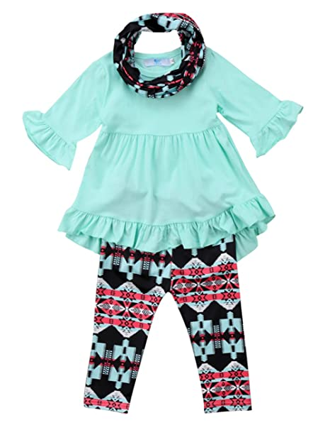 2a0024708fe7c Baby Girls 3 Piece Spring Hi Lo Ruffle Flare Tunic Top Floral Leggings  Outfit Set With