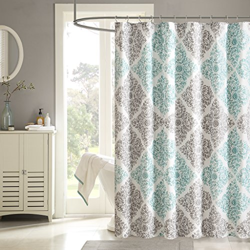 "Madison Park Claire Shower Curtain Aqua Gray 72x72"" MP70-146"