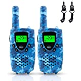 Walkie Talkies for Kids, FAYOGOO 22-Channel FRS/GMRS Radio, 4-Mile Range Two Way Radios for Kids with Flashlight and LCD Screen. 2 Pack, Camo Blue
