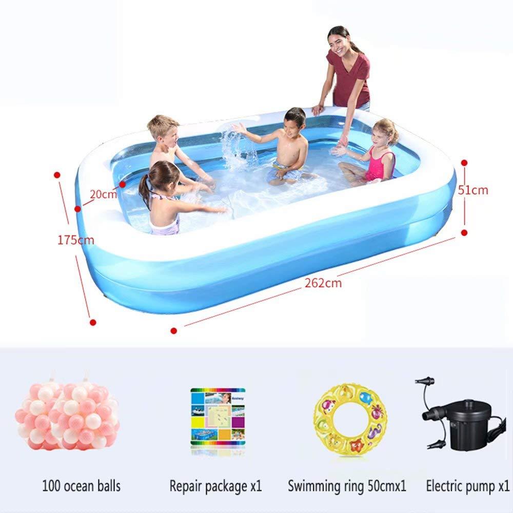 WeißAN-1 Aufblasbarer Pool - 3 gleiche Ringkonstruktion (geeignet für 1-7 Personen) Außengröße  201x150x51cm   Innengröße  261x110x51cm A5