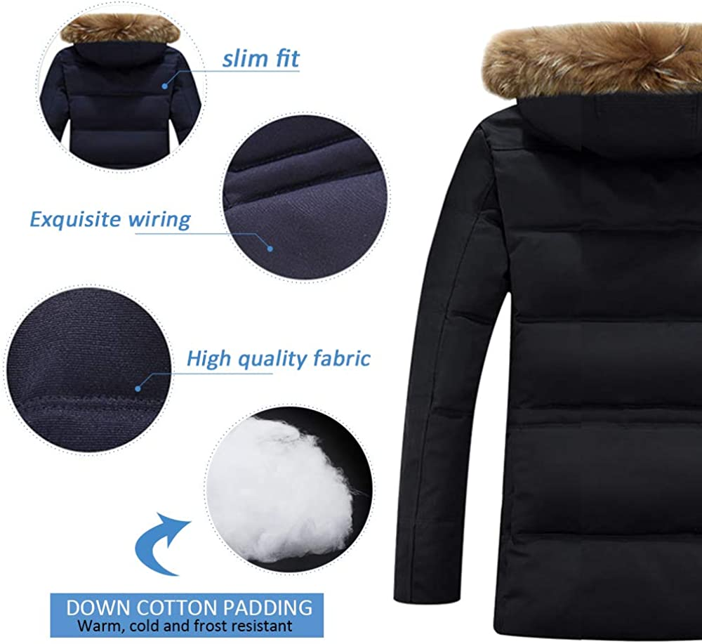 ZEVONDA Mens Down Jacket Winter Thick Warm Coat