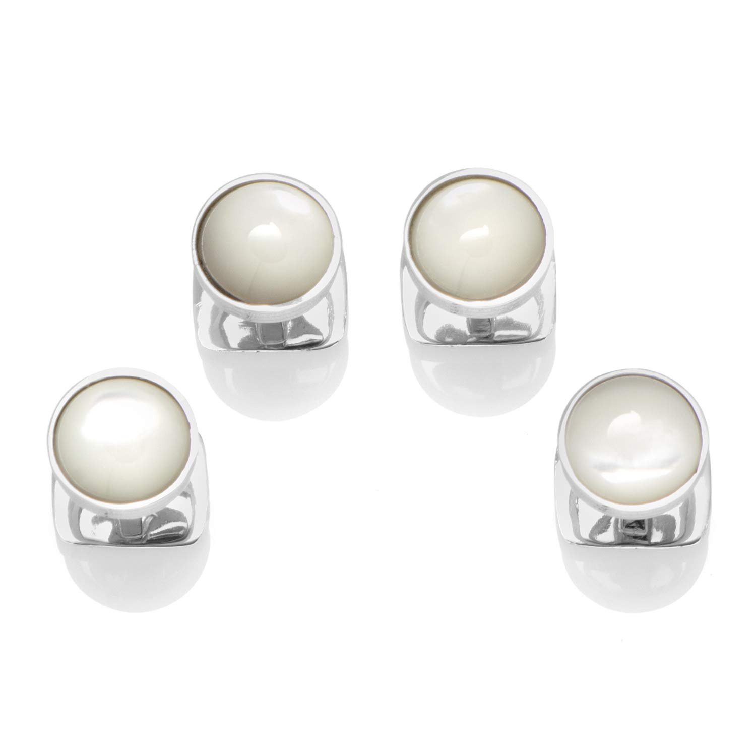 Ox and Bull Trading Co. Sterling Silver Ribbed Mother of Pearl Studs by Ox and Bull Trading Company (Image #1)