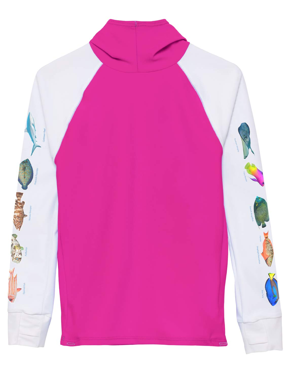 Tuga Girls Hooded Snorkel Rash Guard - Caribbean Fish ID (UPF 50+), Fuchsia, 11/12 yrs by Tuga Sunwear