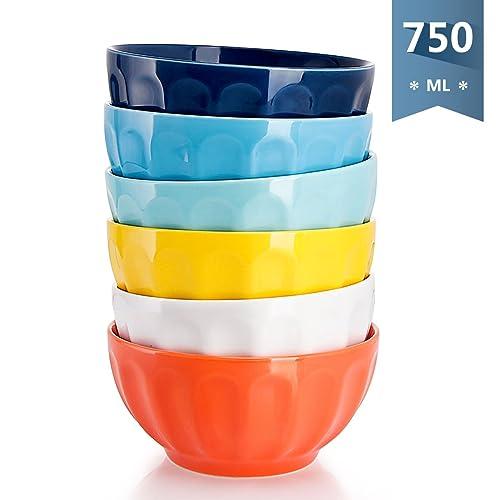 Sweese 1109 Bol en Porcelaine 6 pièces, diamètre 15.2 cm, capacité de 750 ML, Grand, Bols à Céréales, 6 Multicolores