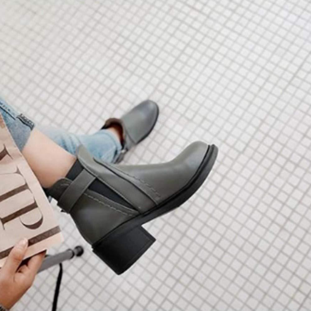 YSFU Botas Botines De Las Las Las Mujeres De Color Sólido Tacones Gruesos Punta Redonda Botas De Moda para Mujer Botín Casual Otoño Invierno Al Aire Libre Plana Antideslizante Zapatos De Tacón Bajo 401e9c