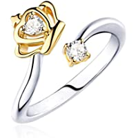 Cdet Women Ring Size Adjustable Fashion Crown Heart Crystal White Diamond Lady Ring Jewelry Accessories Birthday Gift