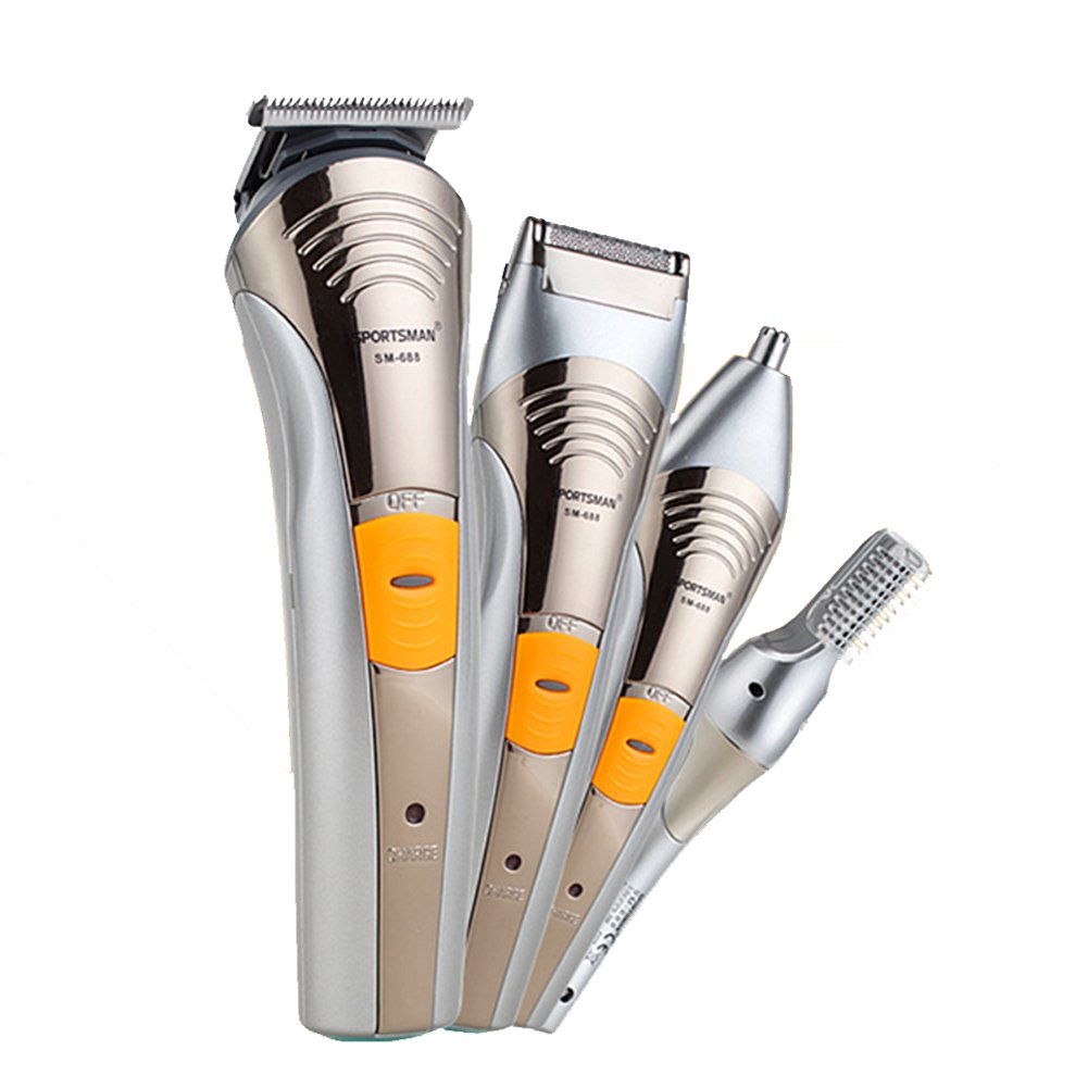 xincare 4 in 1 Rechargeable Cordless Hair Grooming Kit With Hair Clippers, Moustache Beards Shaver Trimmer, Nose Hair and Eyebrow Trimmers WIN-688