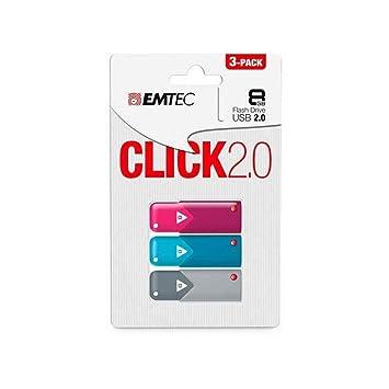 Emtec Click B100, 8GB, 3pcs Unidad Flash USB USB Tipo A 2.0 Azul ...