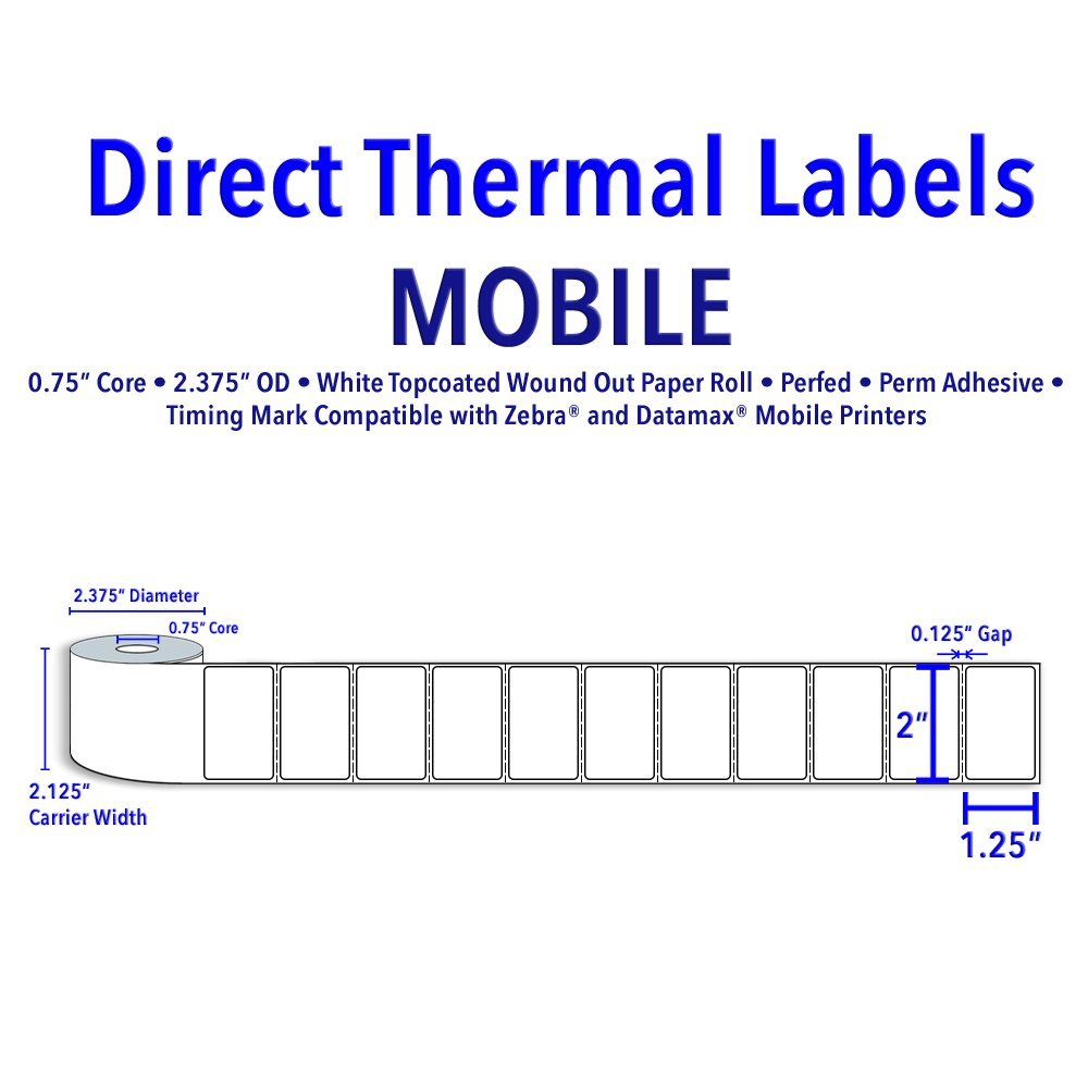2'' X 1.25'' Direct Thermal Labels - 0.75'' Core, 2.375'' Outer Diameter. Supplied 280 Labels Per Roll - 24 Rolls Per Case by Infinity Labels