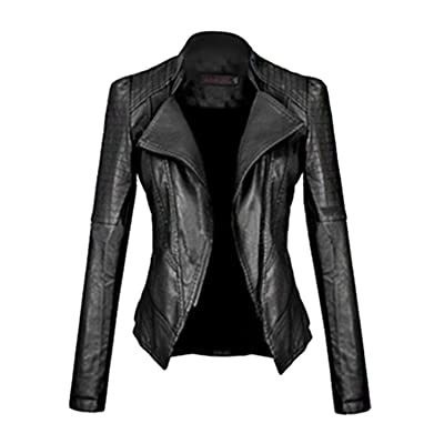 cooshional Femme Veste Motard Jacket Blouson Biker Moto Court Slim Fit faux cuir zippe
