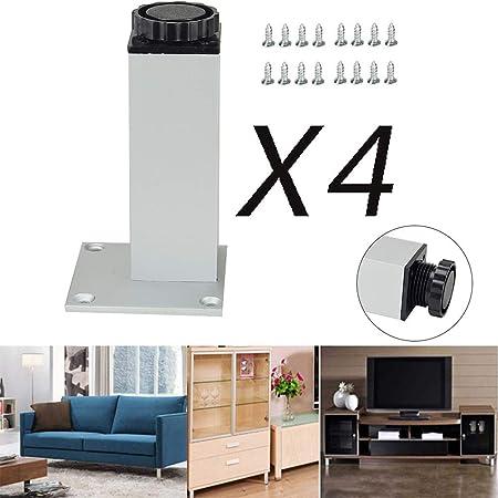MWPO Patas de Muebles de Aluminio de 20 cm / 8 Pulgadas, Patas de gabinete de Muebles de Oficina de Armario de Cocina Ajustable, Juego de 4 (Plateado): Amazon.es: Hogar