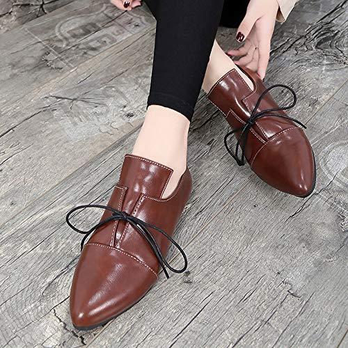 Klassische Braun Casual Bandage Sonnena Sexy Kurzstiefel Booties Stiefel Spitz Boots Knöchel Damenschuhe Schuhe Flach Boden Damen Frauen Toe Vintage Stiefel Schnürer Stiefeletten 7qvw1n