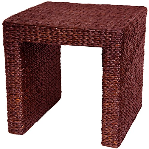 Oriental Furniture Rush Grass End Table - Red Brown