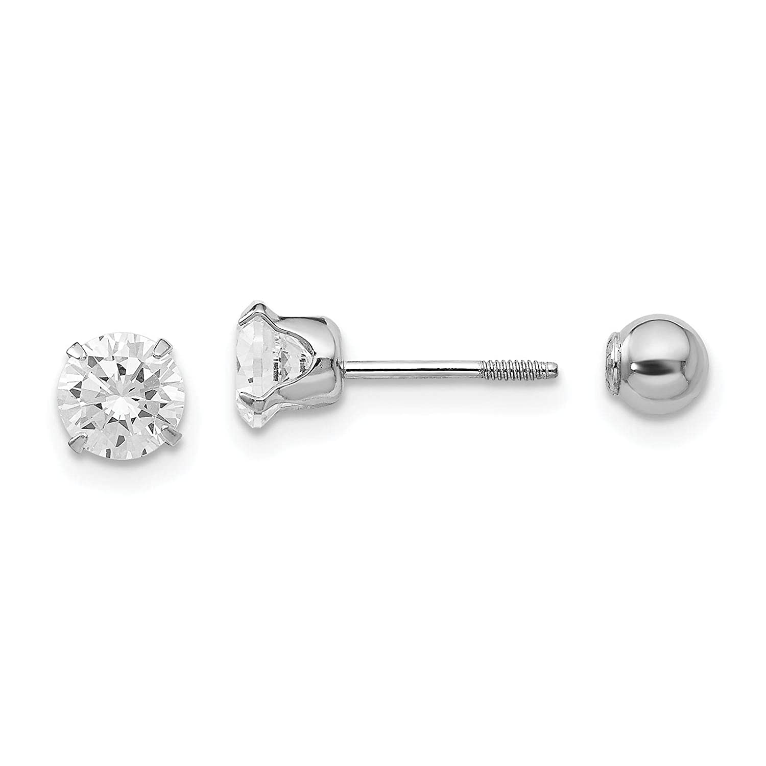 Kids 14k White Gold Polished Reversible 5mm CZ & 4mm Ball Screwback Post Earrings by Madi K