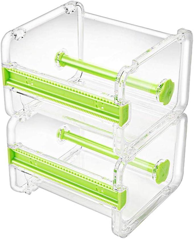 Molshine 2 Pack Transparent Visible Desktop Multi Washi Masking Tape Dispenser,Tape Cutter,Roll Tape Holder (Not Include Masking Tape) (Green)