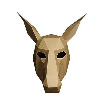 BIEE Máscara de Papel 3D moldes de Cabeza de Animal para Halloween Fiestas Disfraces Cosplay Papel