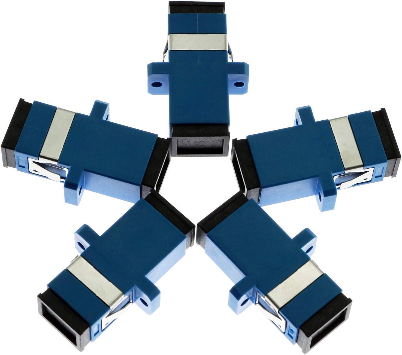 E-outstanding 5PCS SC Fiber Optic Cable Adapter SC Female to SC Female Singlemode Simplex Coupler