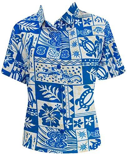 Hawaiian Beachwear Shirt Dress Short Sleeves Blouse Button Down 993 B_Blue M Valentines Day Gifts 2017