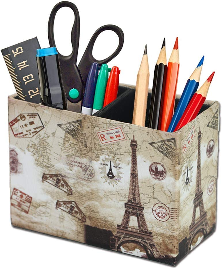 QIELIZI Pen Pencil Holder Cup,PU Leather Pattern Desk Organizer Case Office Accessories Container Box for Home Office Bedroom(1-Vintage Paris)