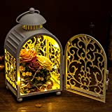 Eternal flower little night light [decoration] White Creative rose flower box [iron] Portable [creative] Christmas gifts Natural flower material-White 15x12x28cm(6x5x11inch)