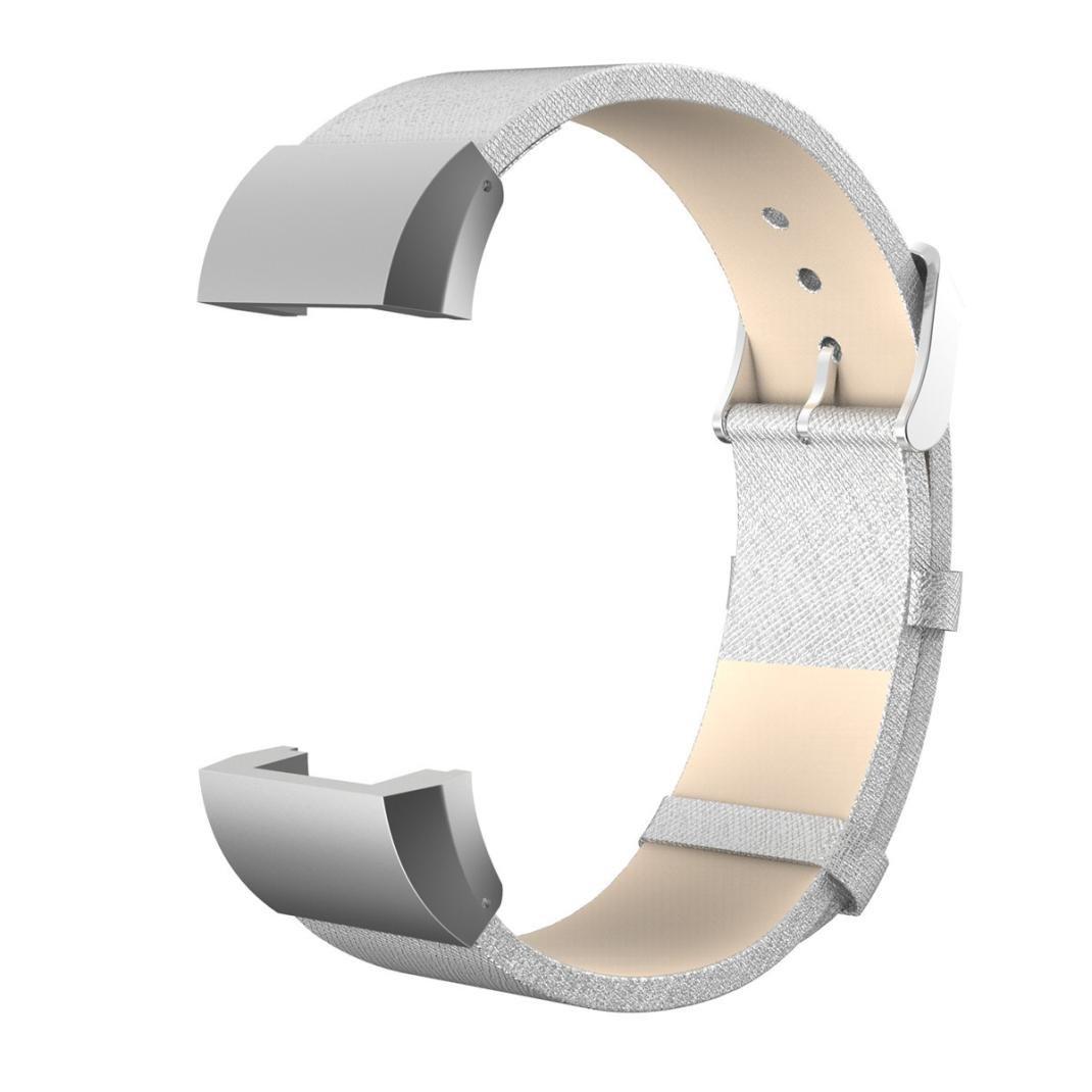 AloneAファッションスポーツ本革ブレスレットストラップバンド+ Film for Fitbit Charge 2 シルバー シルバー B01M8JB7D3