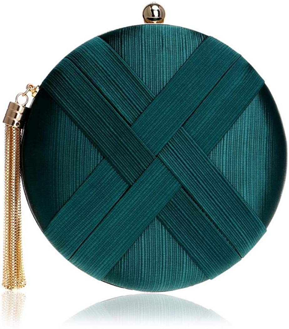 Womens Round Satin Evening Clutch Bags Tassel Pendant Silk Purse Evening Handbags for Formal Party Bridal Wedding