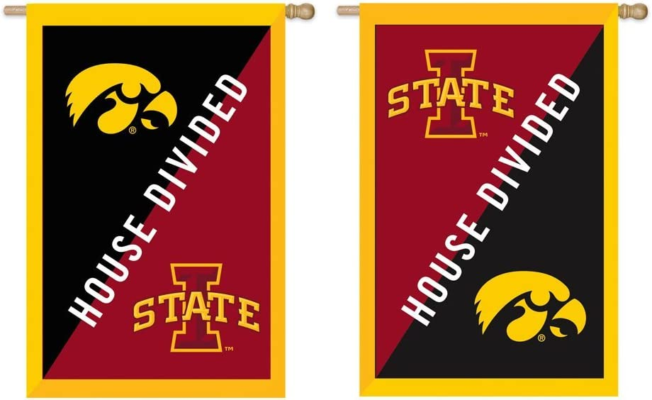 Team Sports America Iowa and Iowa State House Divided Applique Garden Flag, 28 x 44 inches