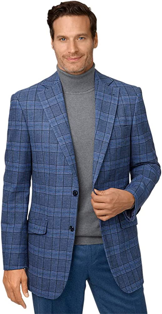 Paul Fredrick Men's Cotton Blend Plaid Notch Lapel Sport Coat