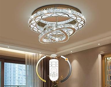 LED Kristall Deckenleuchte Dimmbar mit Fernbedienung Wohnzimmer Lampe  Modern Ring Design Deckenlampe Ø10cm 10W Rostfreier Stahl Luxus  Kristalllampe