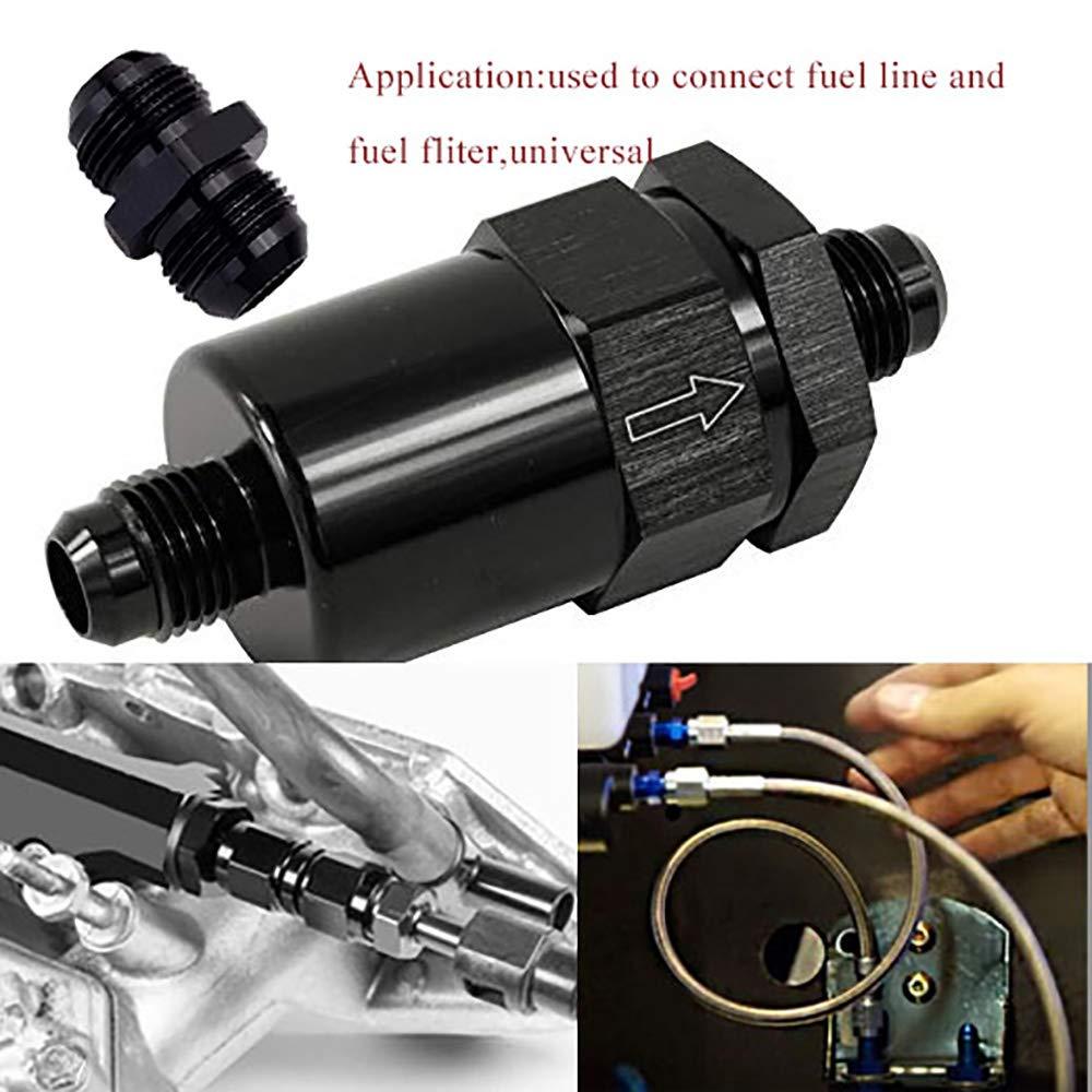 EVIL ENERGY 8AN Male Coupler Flare Union Adapter Straight Fitting Aluminum Black 2 Pcs