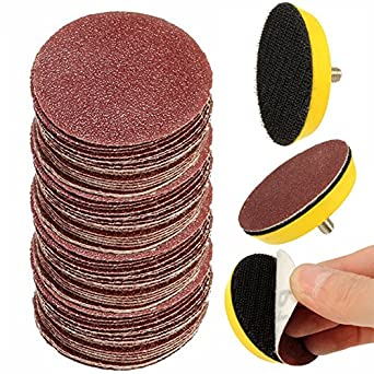 Hook And Loop Sandpaper >> INSMA 100PCS 2 Inch Sander Paper Sanding Discs with 1/8'' 6mm Shank M6 Backer, Aluminum Oxide ...