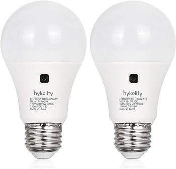 2-Pack Hykolity 9W (60W Equivalent ) Dusk-to-Dawn LED Light Bulb