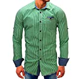 Clearance Mens Denim Shirts vermers Men Lattice Long Sleeve Beefy Button with Pocket Tops Fashion Casual Blouse Tee(M, Green)