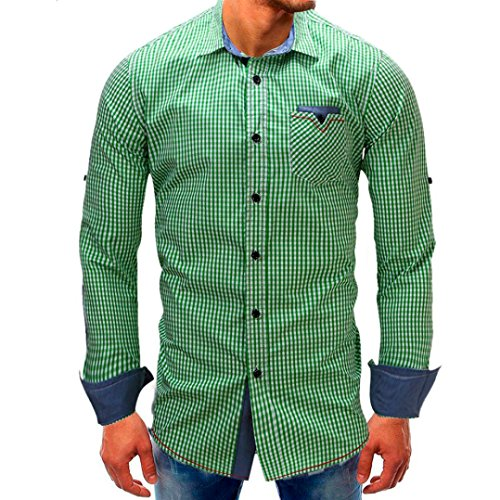 Clearance Mens Denim Shirts vermers Men Lattice Long Sleeve Beefy Button with Pocket Tops Fashion Casual Blouse Tee(M, Green) by vermers