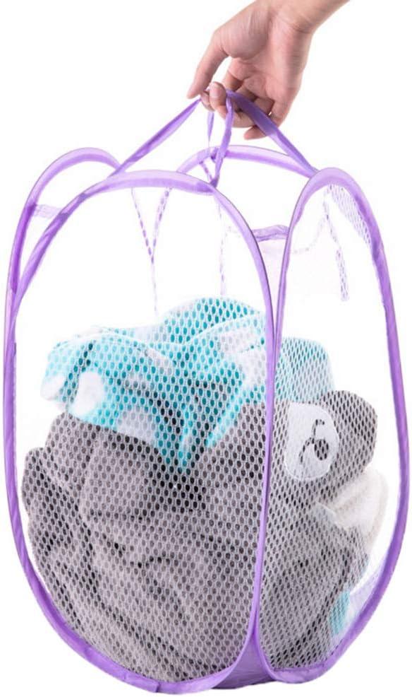 Firiodr Collapsible Nylon Mesh Pop-Up Clothes Basket Mesh Laundry Hamper Basket with Side Pocket//Handles Color Random