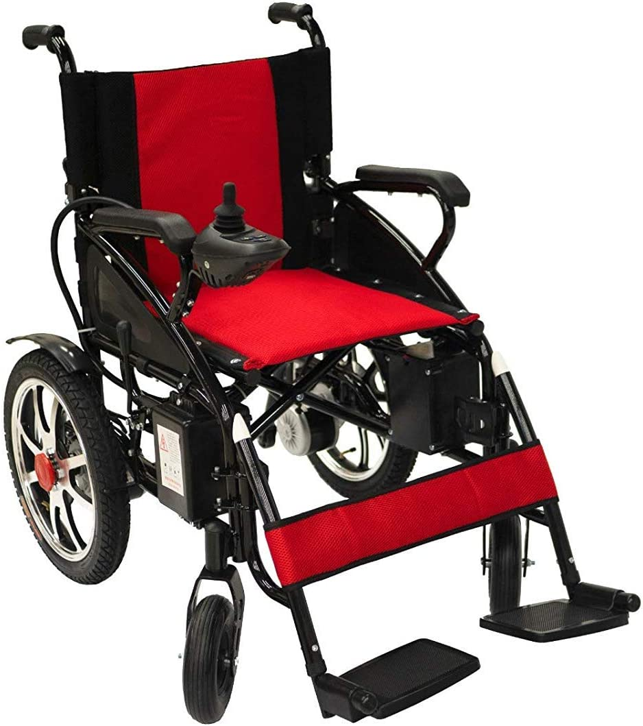 Electric Wheelchair Electric Power Wheel Chair Motorized Foldable Mobility Scooter Wheelchair Automated Wheelchair (RED): Health & Personal Care
