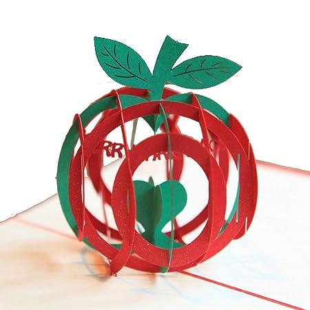INOVEY Navidad Apple Forma 3D Pop Up Tarjeta De Felicitación ...