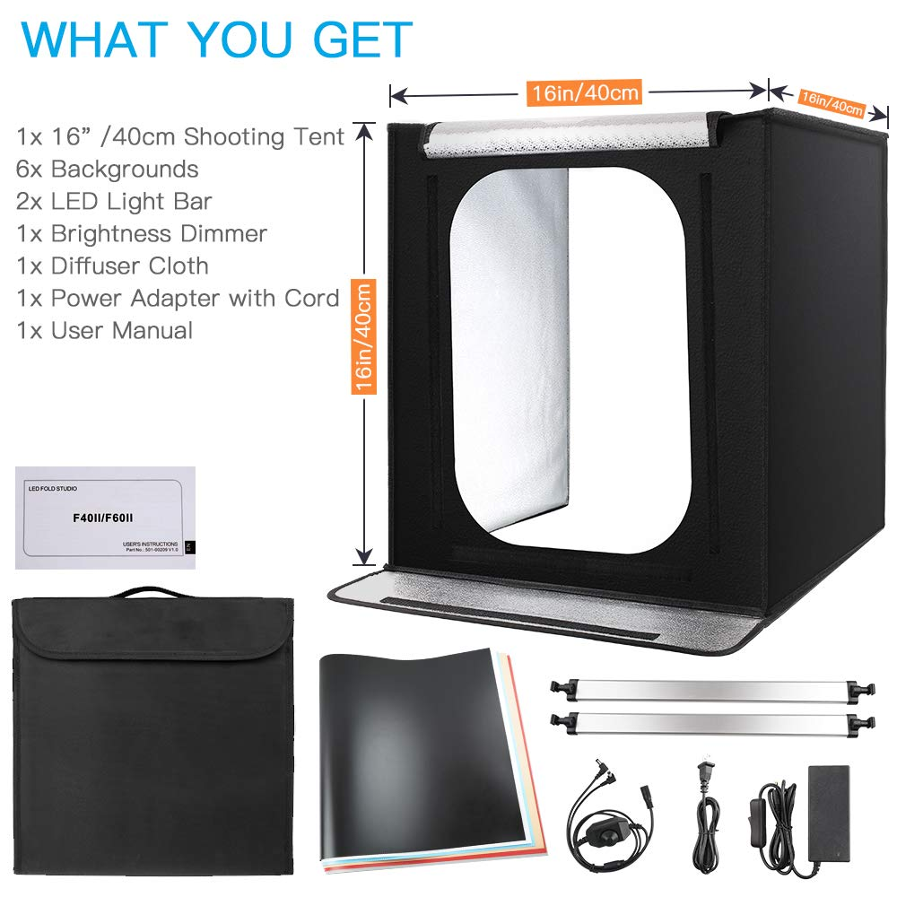 Photo Light Box, FOSITAN 16x16x16 Portable Photo Studio Photography Studio Box with 6 Backdrops Brightness Dimmable Shooting Tent for Product Advertising Like Jewellery, Food, Bags, Shoes etc. by FOSITAN (Image #8)