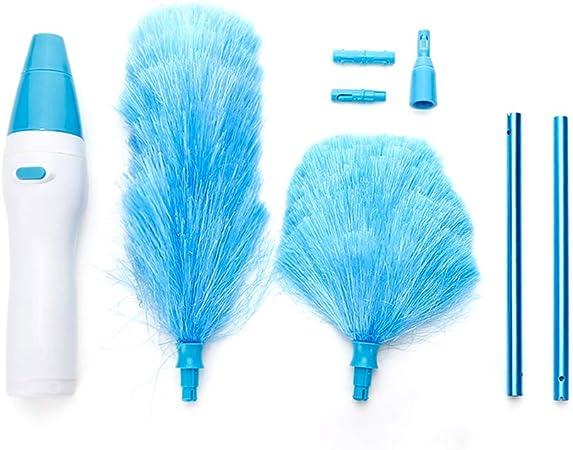 TOMYEER - Aspirador eléctrico ajustable con plumas, funciona con pilas, con botón táctil, color azul: Amazon.es: Hogar