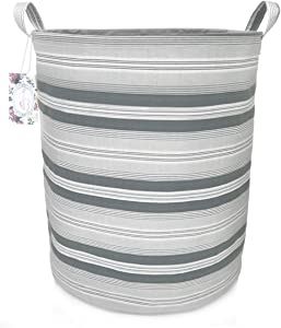 "TIBAOLOVER 19.7"" Large Sized Waterproof Foldable Canvas Laundry Hamper Bucket with Handles for Storage Bin,Kids Room,Home Organizer,Nursery Storage,Baby Hamper (Gray Stripe)"