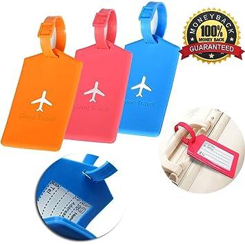 Etiquetas de equipaje Etiquetas de equipaje 2Pcs Etiquetas de equipaje de avión de avión de silicona Etiquetas para maletas de viaje de equipaje: Amazon.es: ...