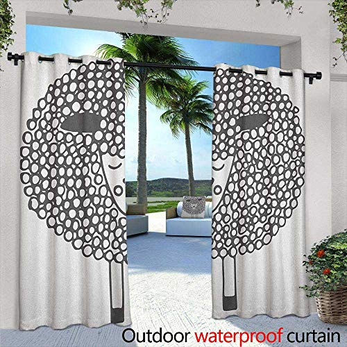 Marilds Grey and White Grommet Curtain Monochrome Sheep with Doodle Design Farm Animal Illustration Great for Living Rooms & Bedrooms 108