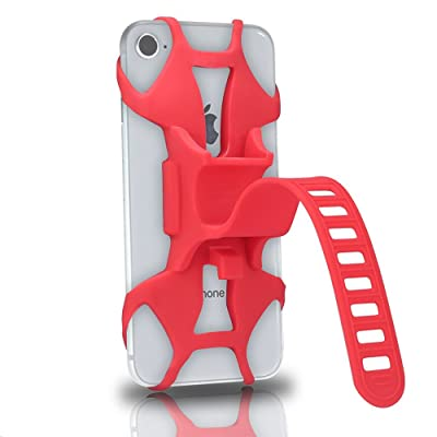 TOMYUANYI Universal Premium Silicone Bike Phone Mount for Motorcycle - Bike Handlebars,Adjustable,Fits iPhone X, iPhone 8 | 8 Plus, Galaxy S9, S8, S7,Cell Phone Holder (Red) [5Bkhe0402404]