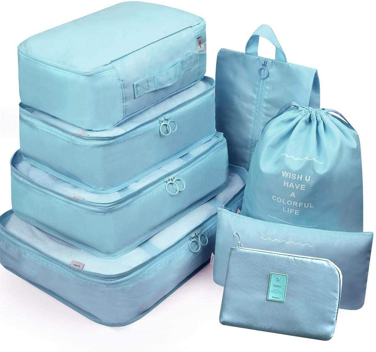 7Pcs Waterproof Travel Storage Bags Clothes Packing Cube Luggage Organizer Pouch (8Gray blue)