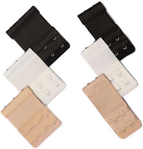 Bra Extender  Ladies Bra Extension Strap 2 HOOKS WHITE  X 2 Pieces