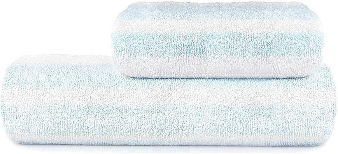 Jhua Coral Velvet Bath Towel Set, Blue Striped Bath Towels for Bathroom Women Men, Soft Large Thick Cotton Bath Towels Set Personal Home Care Luxury Hotel & Spa Quality Highly Absorbent Towels (2Pcs)
