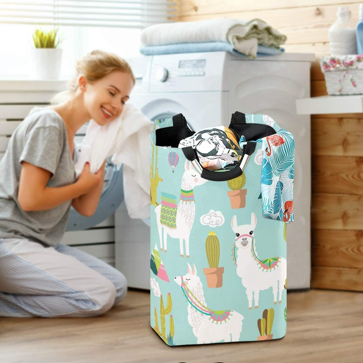 OREZI Cute Vector Alpaca and Cactus Laundry Hamper,Waterproof and Foldable Laundry Bag with Handles for Baby Nursery College Dorms Kids Bedroom Bathroom