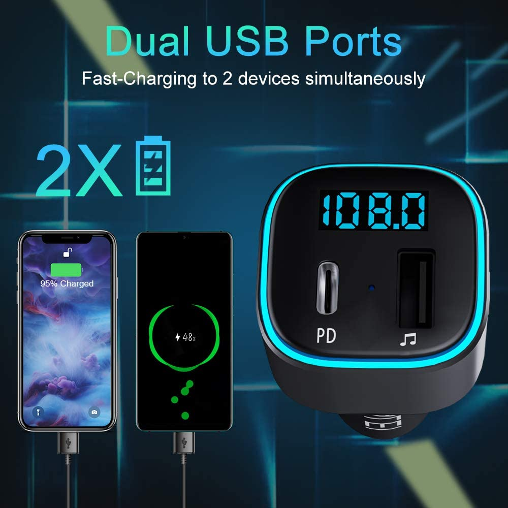 Bluetooth FM Transmitter,HOLALEI Auto Bluetooth Radio Adapter Unterst/ützt PD /& USB(32G)port Auto Ladeger/ät,mit 7 Farbe LED Backlit,Auto Transmitter Bluetooth Adapter f/ür IOS Android Handsfrei Sprechen