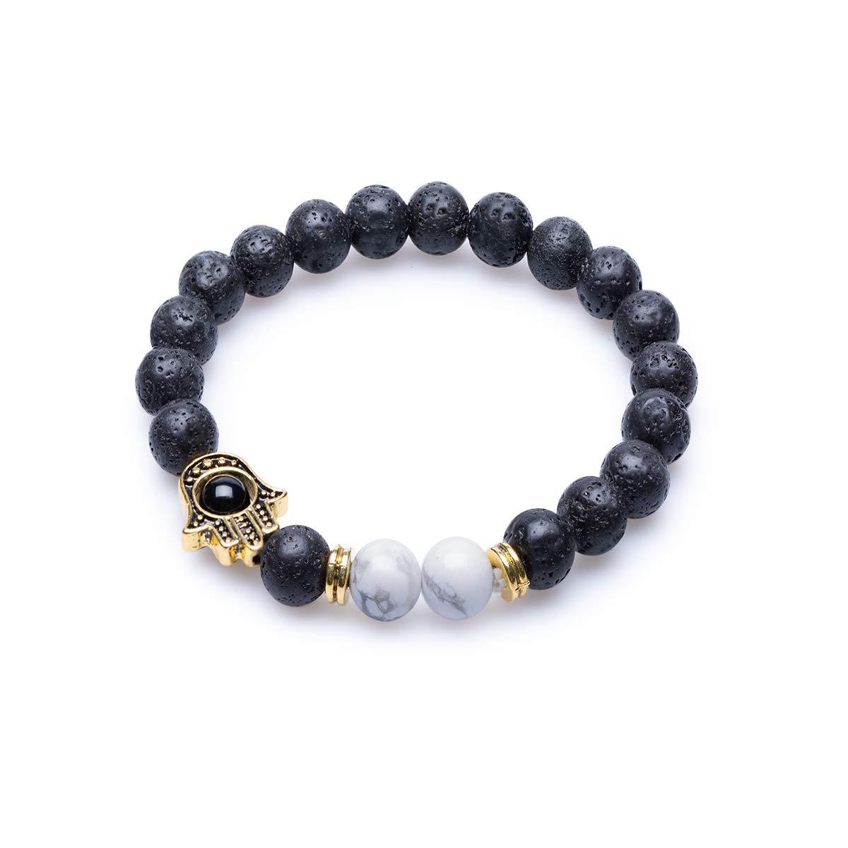 Lava Stone 8mm Reiki White Turquoise Healing Rock Bead Howlite Oil Diffuser Religion Hamsa Hand Elastic Bracelet QMLB QMLB121